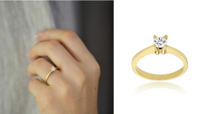 Μονόπετρο Δαχτυλίδι Val΄Oro από Κίτρινο Χρυσό Κ14 με Πέτρα Ζιργκόν 033096
