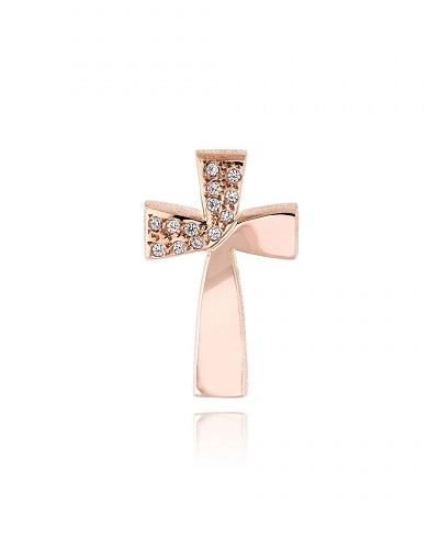 Σταυρός Βάπτισης Τριάντος για Κορίτσι από Ροζ Χρυσό Κ14 και Ζιργκόν 034736