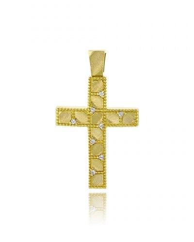 Σταυρός Βάπτισης Val΄Oro για Κορίτσι από Κίτρινο Χρυσό Κ14 και Ζιργκόν 034904