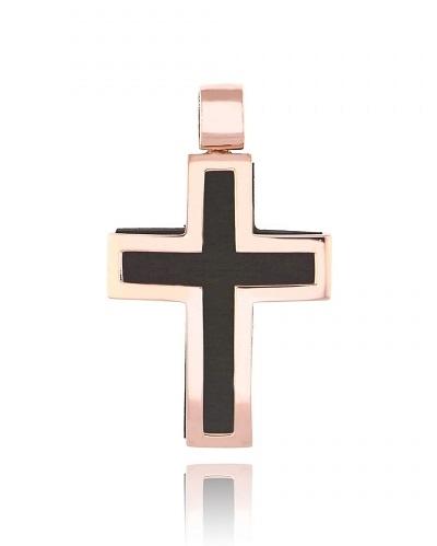 Σταυρός Βάπτισης Val΄Oro για Αγόρι από Ροζ Χρυσό Κ14 με Έβενο 034912