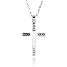 Σταυρός Βάπτισης για Κορίτσι από Λευκό Χρυσό Κ14 με Πέτρες Ζιργκόν 034847