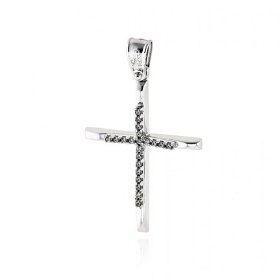 Σταυρός Βάπτισης για Κορίτσι από Λευκό Χρυσό Κ14 με Ζιργκόν 036572