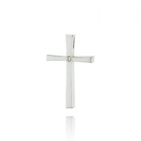 Σταυρός Βάπτισης για Κορίτσι από Λευκό Χρυσό Κ18 με Διαμάντι 035451