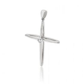 Σταυρός Βάπτισης για Κορίτσι από Λευκό Χρυσό Κ18 με Διαμάντια 036553
