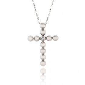 Σταυρός Βάπτισης με Αλυσίδα για Κορίτσι από Λευκό Χρυσό Κ18 με Διαμάντι 034890