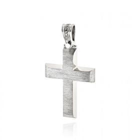 Σταυρός Βάπτισης Τριάντος για Αγόρι από Λευκό Χρυσό Κ14 036595