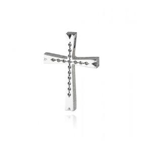 Σταυρός Βάπτισης Τριάντος για Κορίτσι από Λευκό Χρυσό Κ14 με Ζιργκόν 036591