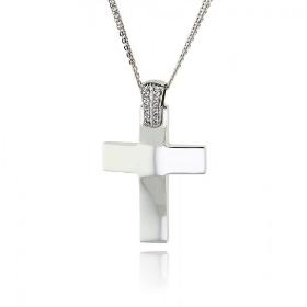 Σταυρός Βάπτισης Val΄Oro με Αλυσίδα για Κορίτσι από Λευκό Χρυσό Κ14 με Ζιργκόν 035185