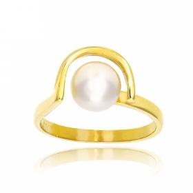 Δαχτυλίδι από Κίτρινο Χρυσό Κ14 με Μαργαριτάρια