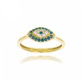 Δαχτυλίδι από Κίτρινο Χρυσό Κ14 με Πέτρες Ζιργκόν