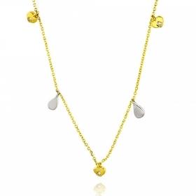 Κολιέ απο Λευκό & Κίτρινο Χρυσό Κ14 με Διαμάντια 036926