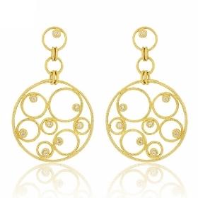 Κρεμαστά Σκουλαρίκια από Κίτρινο Χρυσό 18 Καρατίων με Διαμάντια Μπριγιάν 014001