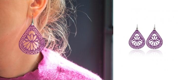 Σκουλαρίκια Κρεμαστά Σταγόνες από Ασήμι 925 με Μωβ Γκλίτερ 021183