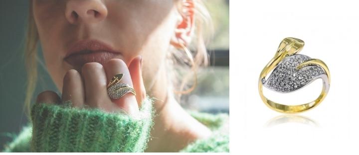 Δαχτυλίδι από Λευκό και Κίτρινο Χρυσό 14 Καρατίων με Πέτρες Ζιργκόν 008931