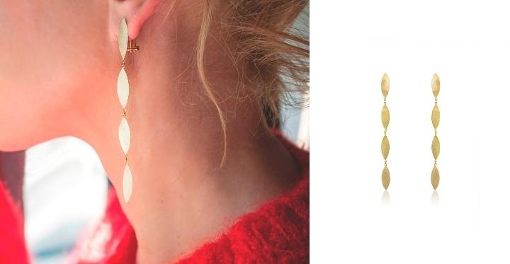 Κρεμαστά Σκουλαρίκια Φύλλα Gabriela Rigamonti Κίτρινο Χρυσό 14 Καρατίων 030944