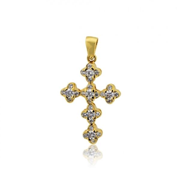 Σταυρός Βάπτισης για Κορίτσι Κίτρινο Χρυσό Κ14 με Πέτρες Ζιργκόν 004118