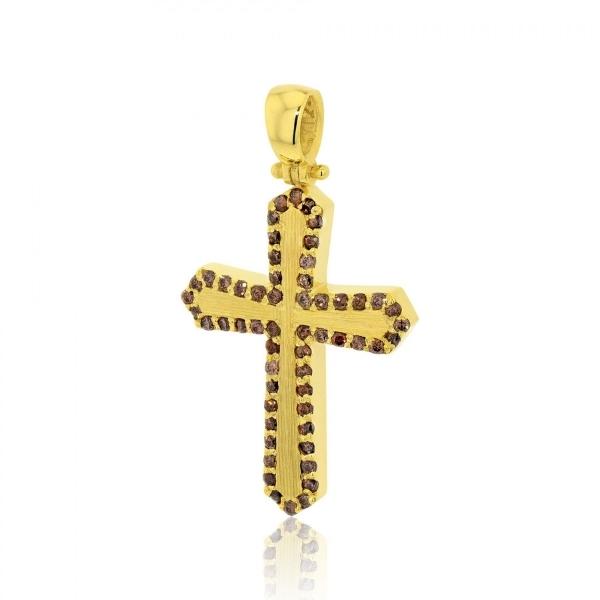 Σταυρός Βάπτισης για Κορίτσι Κίτρινο Χρυσό Κ14 με Πέτρες Ζιργκόν 030220