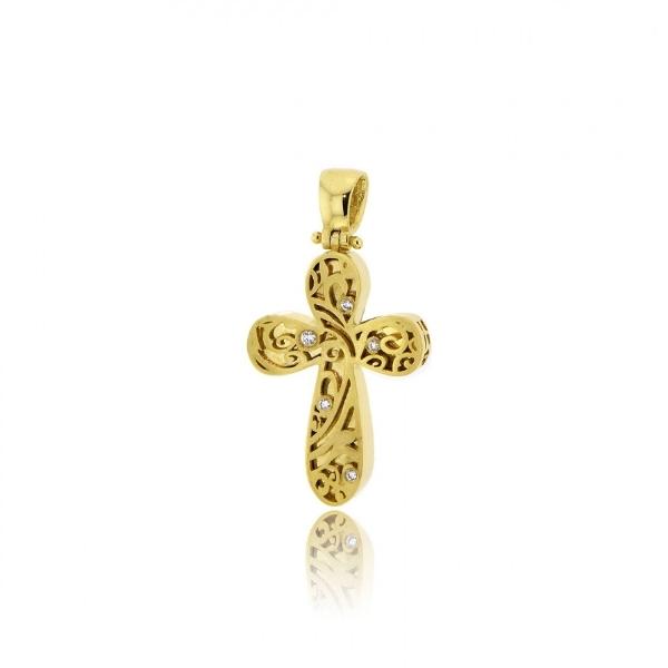 Σταυρός Βάπτισης για Κορίτσι Κίτρινο Χρυσό Κ14 με Πέτρες Ζιργκόν 032160