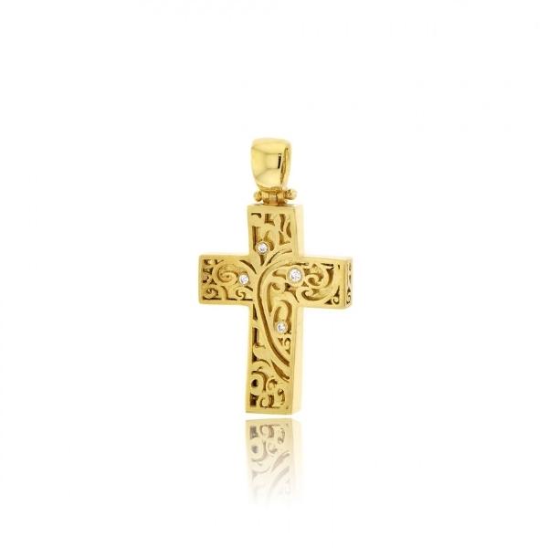 Σταυρός Βάπτισης για Κορίτσι Κίτρινο Χρυσό Κ14 με Πέτρες Ζιργκόν 032161