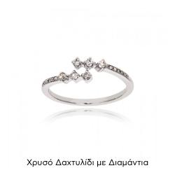 Δαχτυλίδι από Λευκό Χρυσό Κ18 με Διαμάντια 034467