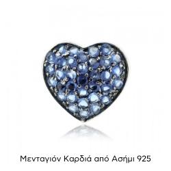 Μενταγιόν Καρδιά Ασήμι 925 με Ζιργκόν 028174