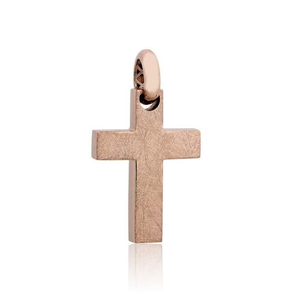 Σταυρός Βάπτισης Διπλής Όψεως Ροζ Χρυσό 14 Καρατίων Κ14 029891