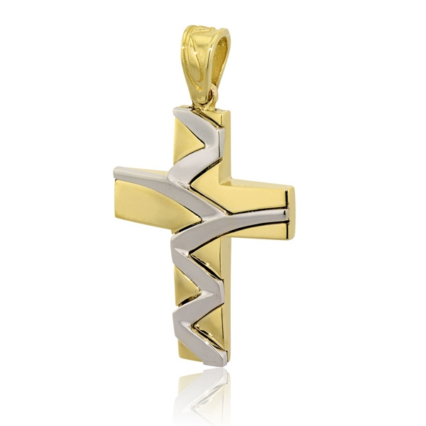 Σταυρός Βάπτισης ValOro για Αγόρι Σκέτος Κίτρινο και Λευκό Χρυσό Κ14 030262