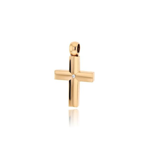 Σταυρός Βάπτισης για Κορίτσι Κίτρινο Χρυσό Κ14 με Πέτρες Ζιργκόν 032162
