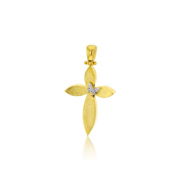 Σταυρός Βάπτισης για Κορίτσι Κίτρινο Χρυσό Κ14 με Πέτρες Ζιργκόν 032164