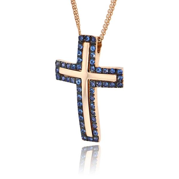 Σταυρός Βάπτισης Val΄Oro με Αλυσίδα για Κορίτσι Ροζ Χρυσό Κ14 033106