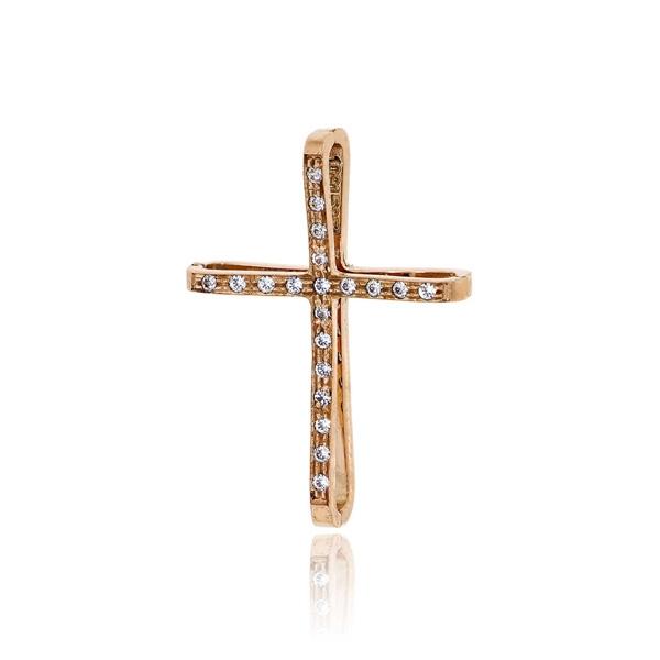 Σταυρός Βάπτισης Val΄Oro για Κορίτσι Ροζ Χρυσό Κ14 με Πέτρες Ζιργκόν 033120