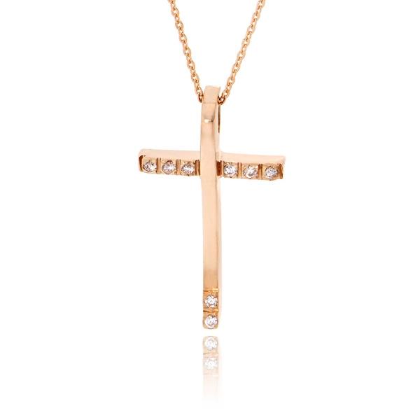 Σταυρός Βάπτισης με Αλυσίδα Val΄Oro για Κορίτσι Ροζ Χρυσό Κ14 033148