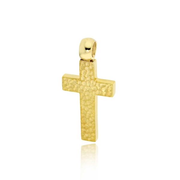 Σταυρός Βάπτισης για Αγόρι Σκέτος από Κίτρινο Χρυσό 14 Καρατίων 033262