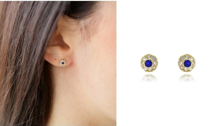 Σκουλαρίκια Ροζέτες από Κίτρινο Χρυσό 14 Καρατίων Κ14 με Πέτρες Ζιργκόν 033189