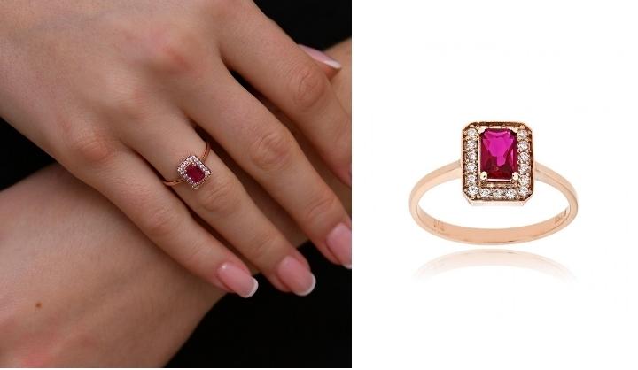 Δαχτυλίδι Ροζ Χρυσό 14 Καρατίων Κ14 με Πέτρες Ζιργκόν 033434